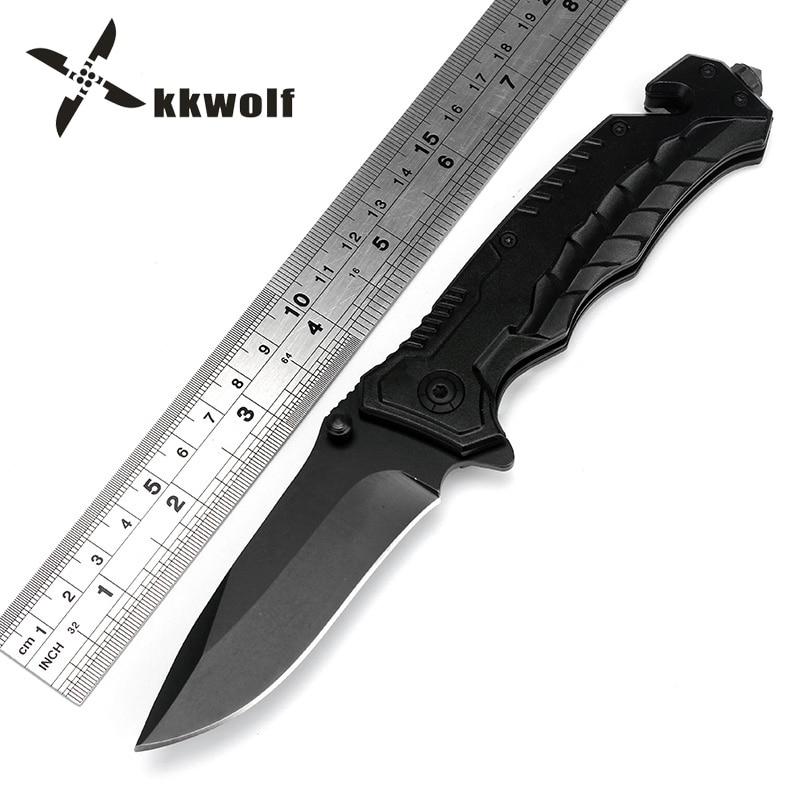 KKWOLF Folding Knives 440C Blade Alumin Alloy Handle Best Black Snake OEM Survival Camping Pocket Tactical Diving Knife EDC Tool