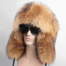 New Winter women men Russia fur hat Real Fox raccoon Fur Hat Earmuff Warm pompom Ear genuine 100%natural fox Bomber Hats cap
