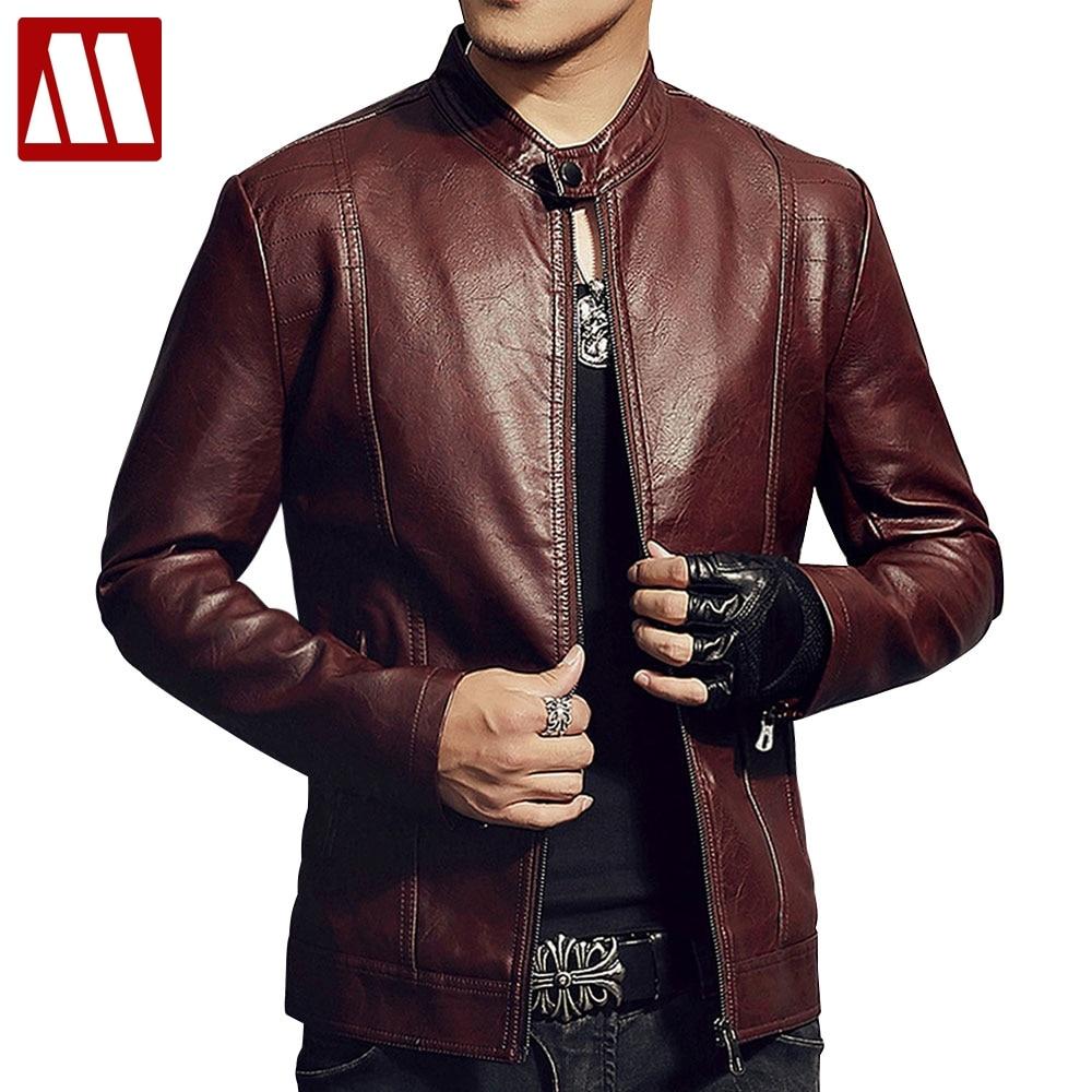 Nouveau 2018 homme Veste En Cuir Rouge Automne et Hiver Slim