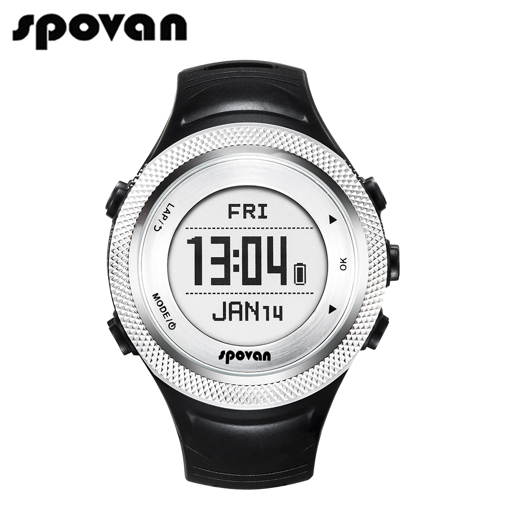 SPOVAN GL006-S Smart Sports Wris Watches, Men's Watch Digital Clock Chargable GPS Watch/Bluetooth 4.0/APP (Free Heart Rate Belt)