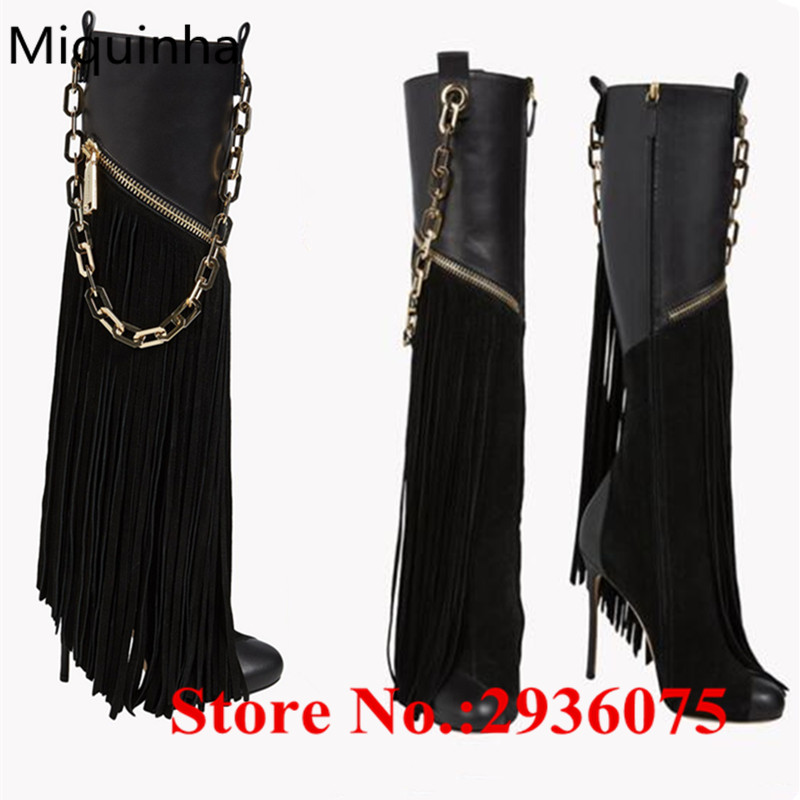 где купить  Black Suede Soft Leather Patchwork Tassel Women Motorcycle Boots Chain Fringe Embellished Zip High Heels Botas Mujer Shoes Woman  по лучшей цене