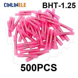 500 piezas BHT1.25 aislados de calor Shrink Butt Wire conector de Terminal de crimpado eléctrico 22-18AWG 0,5-1,0mm BHT1 BHT-1.25
