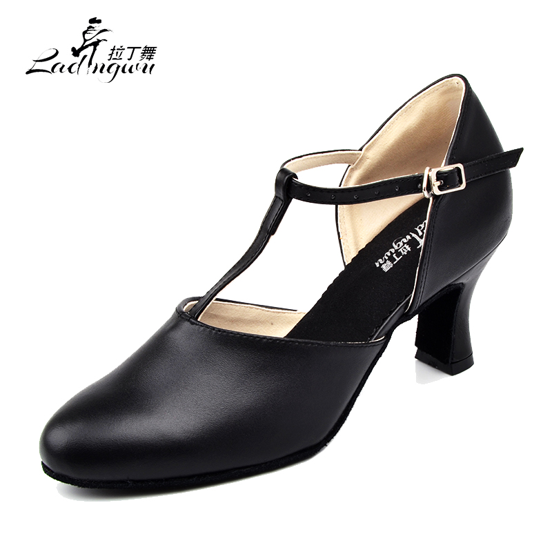 Ladingwu Hot Selling Women's Genuine Leather Shoes Ballroom Dance Competition Shoes Black Latin Dance Shoes Heel 6/7/7.5/8.3cm