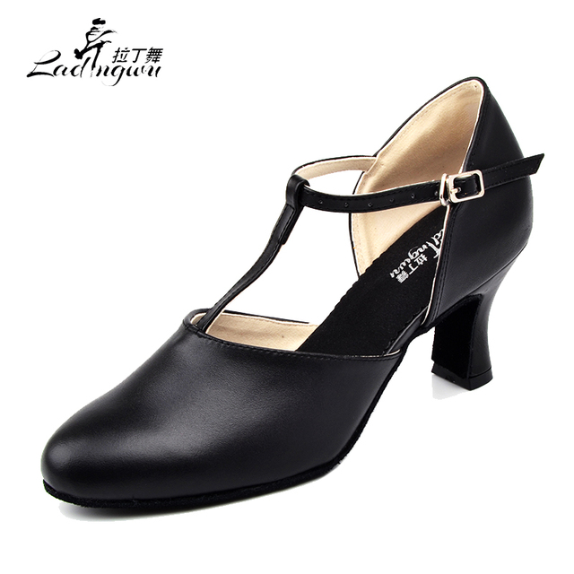 Ladingwu Hot Selling Womens Genuine Leather Shoes Ballroom Dance Competition Shoes Black Latin Dance Shoes Heel 6/7/7.5/8.3cm