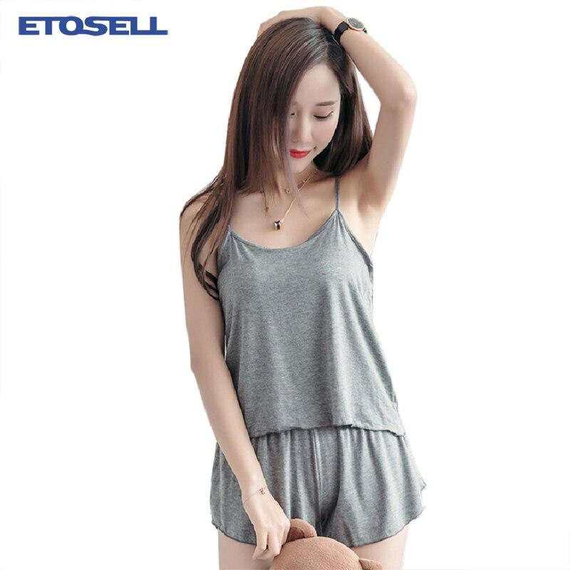 Women's Solid Comfy Sleepwear   Set   Modal Fabric Camis + Elastic Waist Shorts Super Soft Female Summer Home   Pajamas     Sets   XL-XXXL
