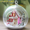 UTOYSLAND DIY Wooden Christmas Tree Snowman 3D Miniature Toy Doll House Voice Control LED Light Glass Ball Kids Toy Gift