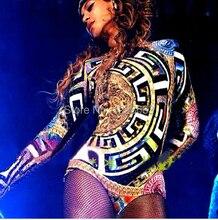 Miễn Phí Vận Chuyển Mới Bán Nữ Sexy Nóng Bỏng Hộp Đêm Báo Ca Sĩ Nhạc Jazz Nhảy Hip Hop Trang Phục Beyonce Bodysuit
