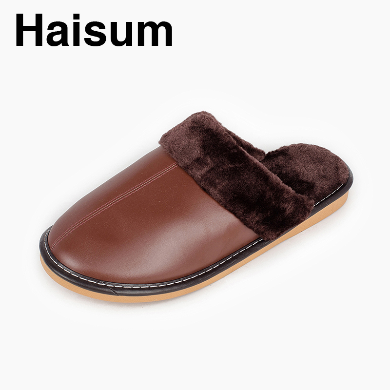 Men 's Slippers Winter Pu Leather Home Indoor Non - Slip Thermal Slippers 2018 New Hot Haisum L-1088 plush home slippers women winter indoor shoes couple slippers men waterproof home interior non slip warmth month pu leather