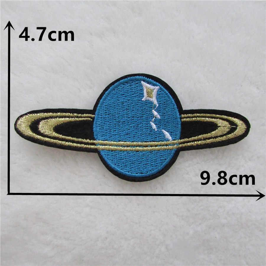 Venta caliente barato Astral Planet Parches bordado de hierro en Parches para ropa DIY rayas ropa Alien pegatina espacio apliques
