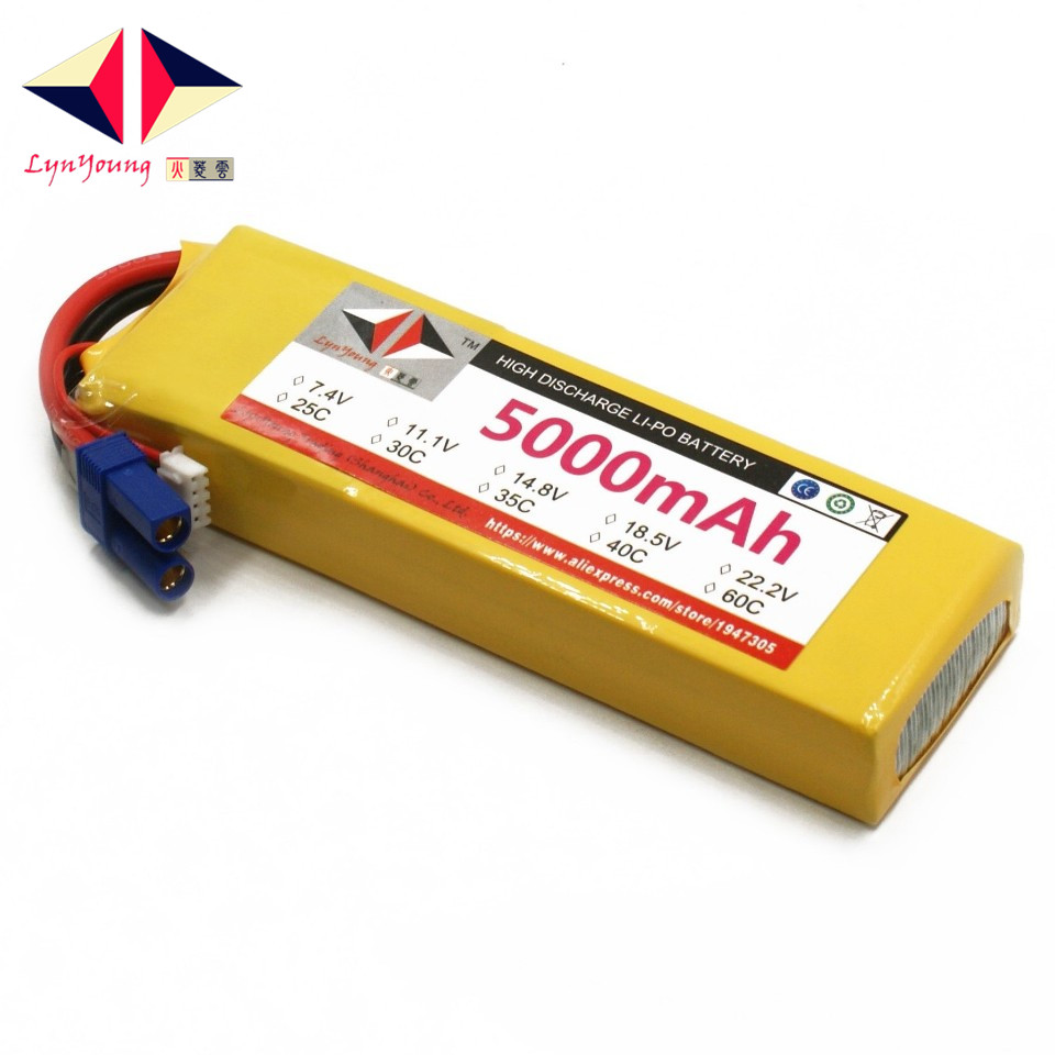 LYNYOUNG lipo 3S rc font b battery b font 11 1V 5000mAh 35C for car Truck