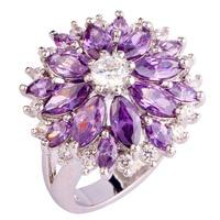 2015 Fashion Women Flower Purple Amethyst 925 Silver Ring Size 7 8 9 10 11 12 13 New Jewelry Women Gift Free Shipping Wholesale