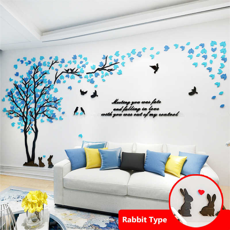 Mixed Color Leaves Big 3D Wall Sticker Decals for Living Room Sofa TV Background Acrylic Wallpaper Home Decor Sticker Wallposter