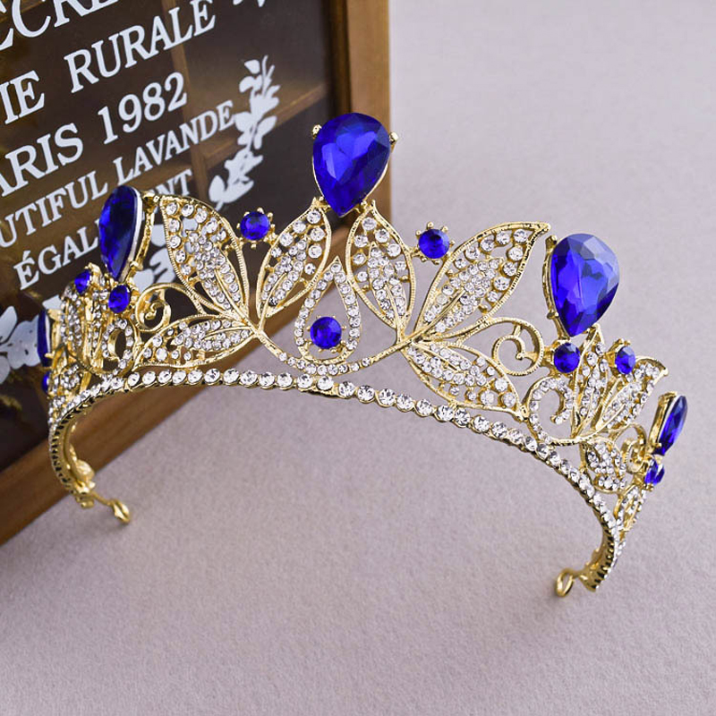 European Western Vintage Red Blue Crystal Crown Tiara Wedding Hair Accessories Bride Womens Baroque Bridal Gold Flower Jewelry