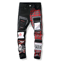 men's fashion hip hop punk clothes printing patchwork ripped jeans slim fit denim celana jean pria teenager cloth fitting pants