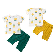 Kids Baby Boy Summer Outfit Pineapple Print Short Sleeve T-Shirt+Short Pants Casual Clothes Set cute short sleeve pineapple print baby romper for kids