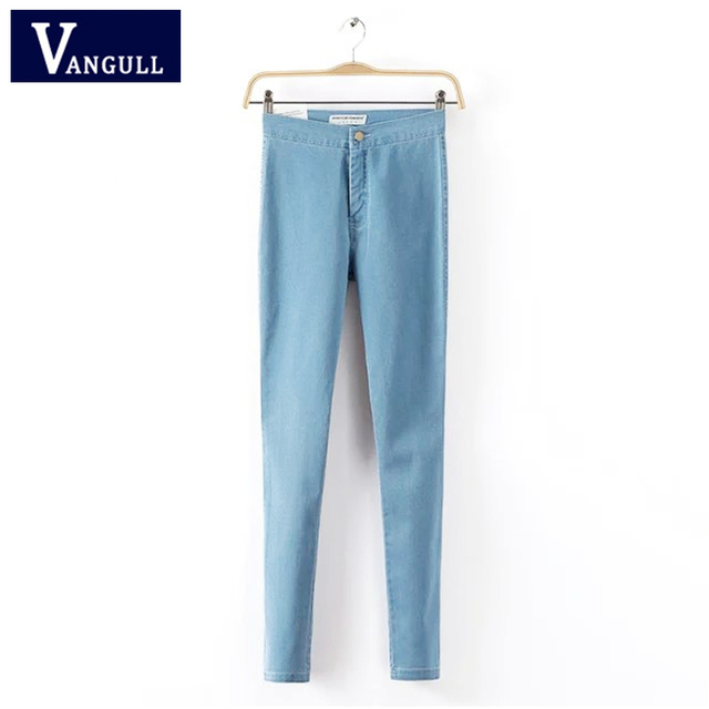 Women Denim Pencil Pants Ladies Elegant Skinny High Elastic Zipper Trousers Autumn Spring Fashion Casual Pants VANGULL 2018 New