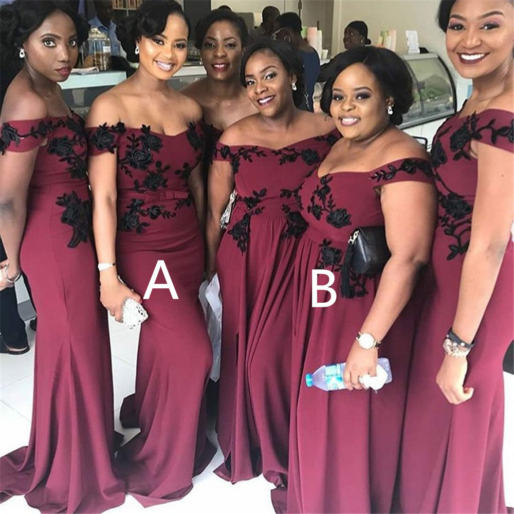 2 Style Burgundy Long   Bridesmaid     Dresses   Off The Shoulder Boat Neck Mermaid Wedding Guest   Dress   With Black Lace 2019 New Arrival