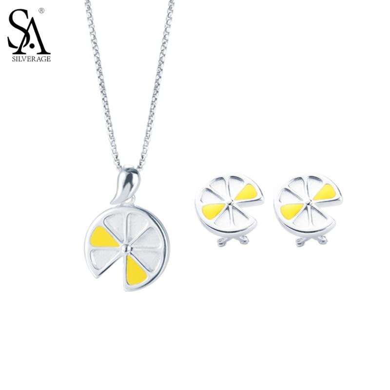 все цены на SA SILVERAGE Original 925 Sterling Silver Yellow Lemon Jewelry Set Necklaces & Stud Earrings Fine Jewelry Sets for Women Gift онлайн
