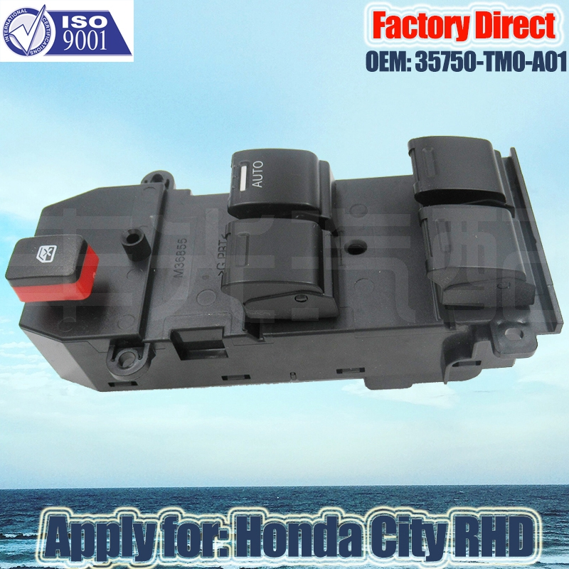 Factory Direct Auto Power Window Master Control Switch Apply for Honda City Right Driver Side 35750-TM0-A01/35750TM0A01 22Pins
