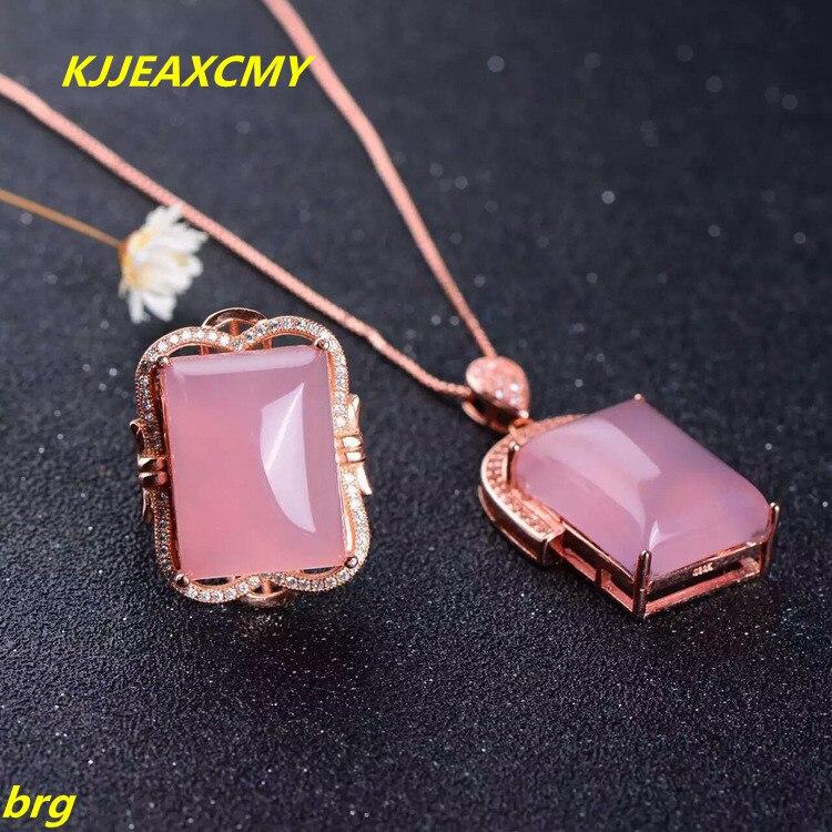 KJJEAXCMY bijoux fins, 925 or rose poudre calcédoine calcédoine ensemble de bijoux anneau incrusté fille pendentif anneau deux pièces ensemble