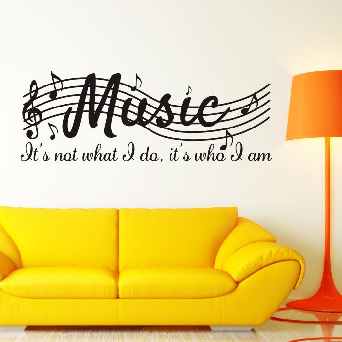 Removable MUSIC IS NOT Musical Notes Room art Vinyl Wall Decal Decor ...