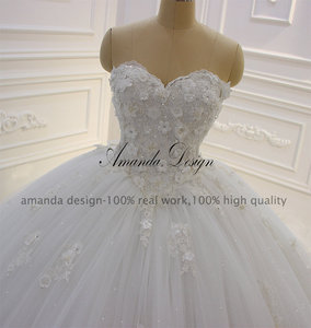 Image 2 - Amanda Design vestido de novia manga larga Strapless Lace Applique Puffy Ball Gown Wedding Dress