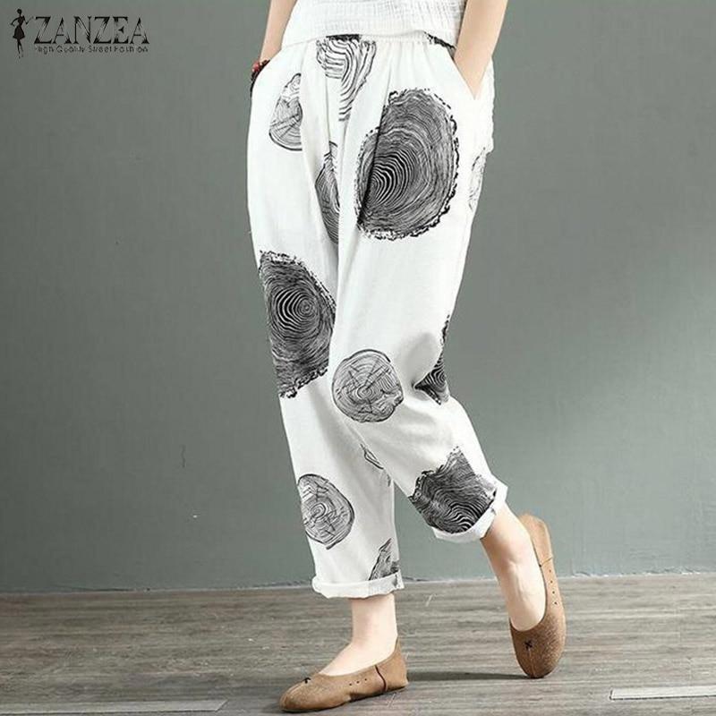 ZANZEA Vintage Polka Dot Linen Pants 2020 Women's Casual Trousers Female Elastic Waist Printed Turnip Pantalon Pants Plus Size