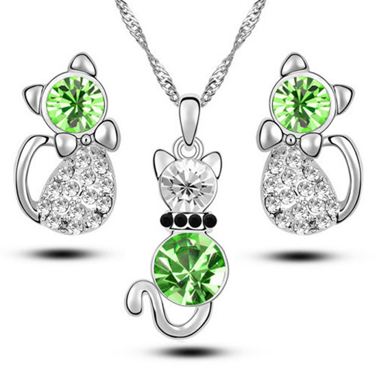 QCOOLJLY Silver Color Austrain Crystal Jewelry Set Charm Cute Cat Pendant Necklace Earrings Jewelry Accessories