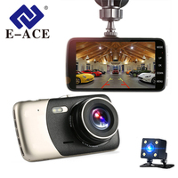 E ACE Car Dvr 4 Inch Auto Camera Dual Lens FHD 1080P Dash Cam Video Recorder With Rear View Camera Registrator Night Vision DVRs