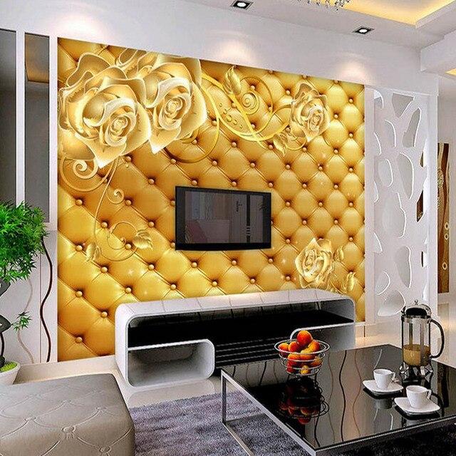 Europese Geel Rose Bloem Behang 3D Muurschildering voor Woonkamer ...