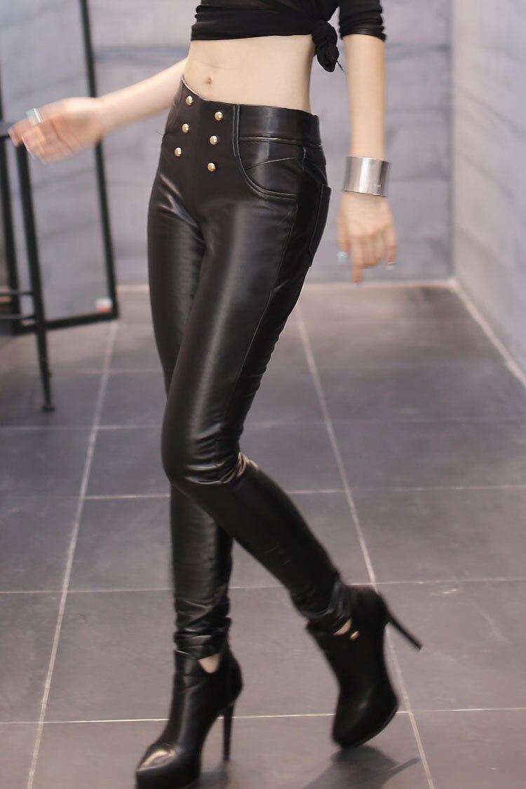 Woman Plus Size Winter Solid Mid Elastic Waist Button Plus Velvet Thick Pu Pencil   Pants   Lady Warm Mid Pu Stretch Leggings   Capris