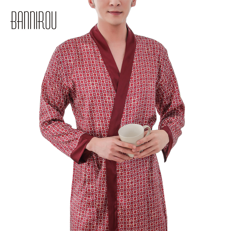 Man Robe Faux Silk Polka Dot Male Slap-up Red Simple Full Thin Cool High Quality 2019 New One Size Spring Summer Autumn Bathrobe