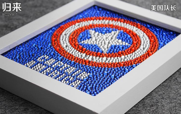 Diy 15 * 20CM Captain America 5D Diamond Painting Uşaq Zəkasını, - İncəsənət, sənətkarlıq və tikiş - Fotoqrafiya 3