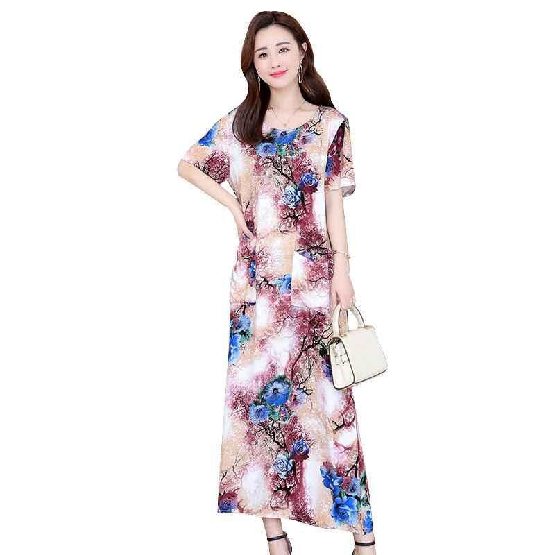 Женские летние платья, повседневное винтажное длинное платье с принтом, свободное платье размера плюс, платье макси, платье vestidos