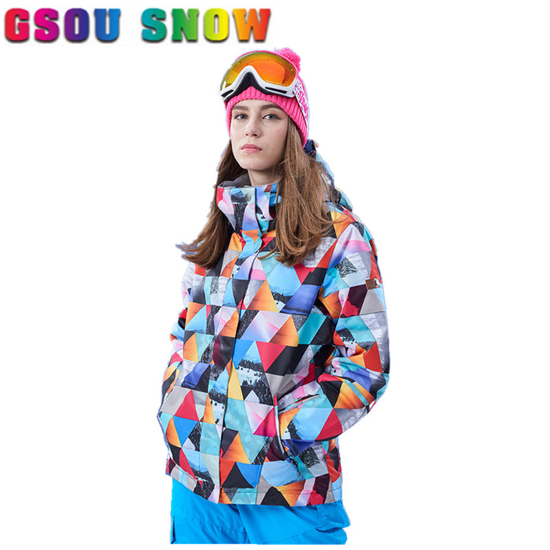 Gsou Snow Ski Jacket Women Winter Waterproof 10000 Breathable 10000 Colorful Camo Snowboard Jackets Cheap Female Ski Snow Coats gsou snow ski jacket women winter snowboard jacket waterproof 10000 breathable 10000 female warmth thermal sports ski clothes