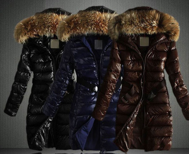 Womens Faux Fur Collar Parka Down Cotton Overcoat Belt Hooded Padded
