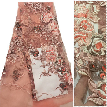 Most Elegant great quality embroidered beautiful flowers design African dress fabric CD7 Free shipping French Tulle Lace Fabric