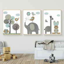 Cartoon Giraffe Rabbit Elephant Animals Canvas Painting Nordic Pictures Wall Art Baby Nursery Rooms Poster Home Decor
