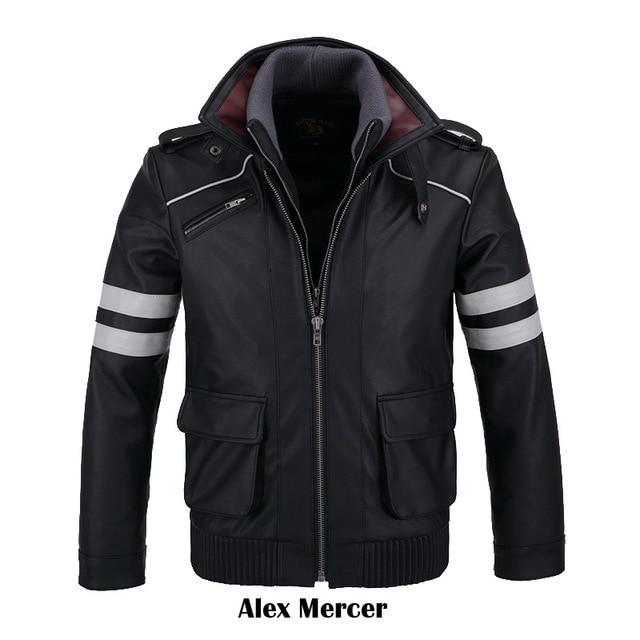 COSFANS двойные ошейники! игровой прототип Alex Mercer pu кожаная куртка зимнее пальто костюмы для косплея на Хэллоуин для женщин/мужчин M-4XL - Цвет: Only Coat