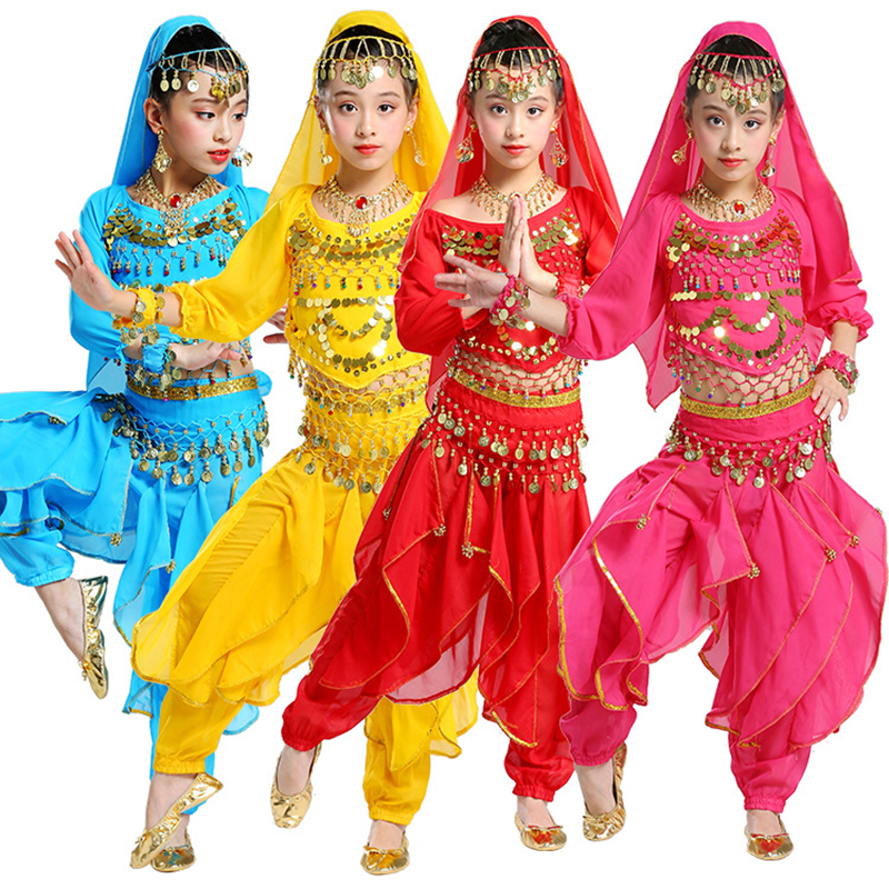 5pcs Kid Belly Dancing Costume Long Sleeve Girls Belly Dance Costumes Children Belly Dance Girls Bollywood Indian Dancewear Set
