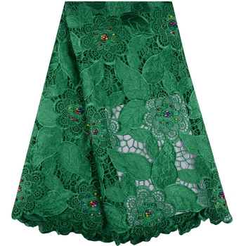Nigeria Cord Embroidered Lace Fabric With Beads High Quality African Guipure Lace Fabric For Wedding Dress A1016
