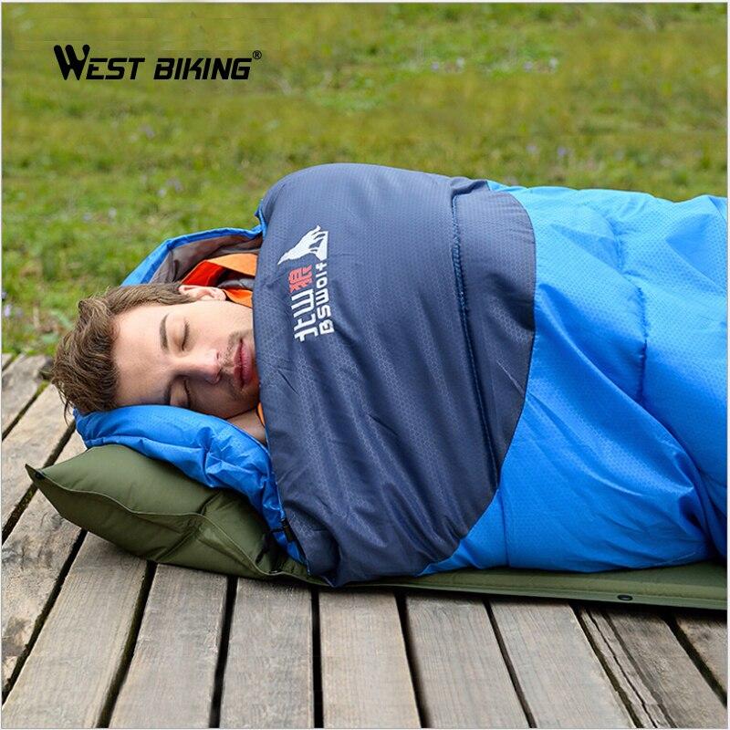 OUEST VÉLO 1.35 KG 0-15 Celsius Adulte Sac de Couchage Sacs de Couchage Peut Être Épissé Camping En Plein Air Garder Au Chaud Sacs de couchage