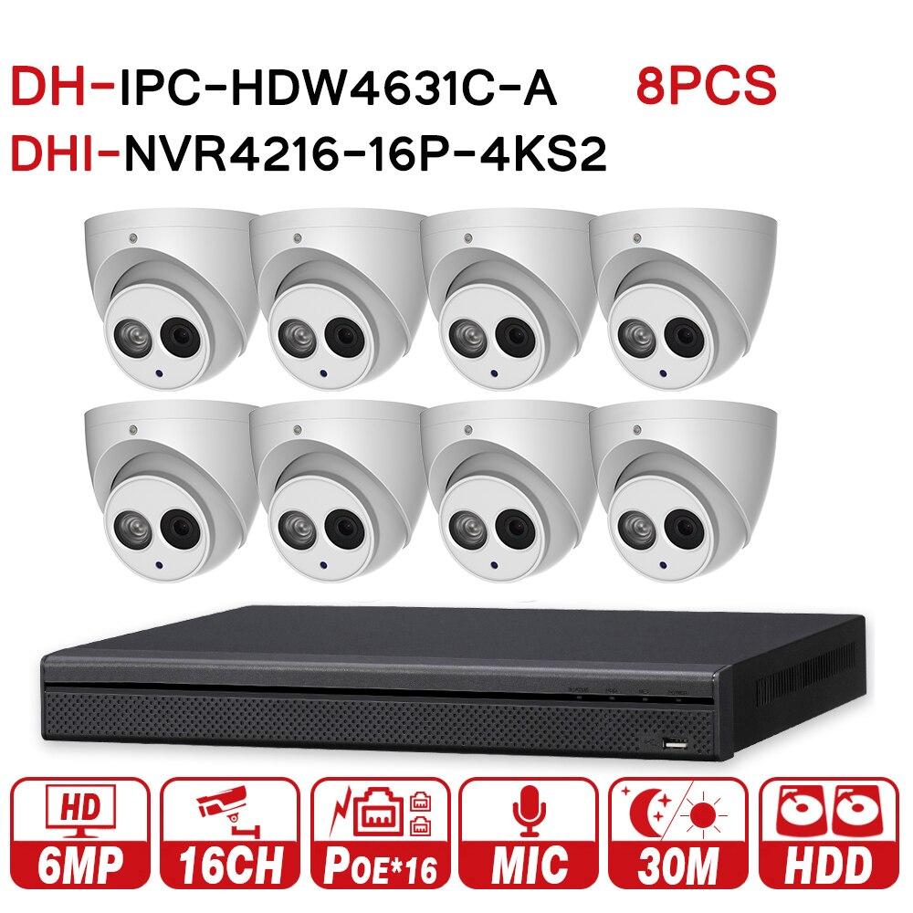 DH видеонаблюдения Системы 8 шт. 6MP IP Камера IPC-HDW4631C-A и 16POE 4 К NVR NVR4216-16P-4KS2 наблюдения P2P безопасности Системы