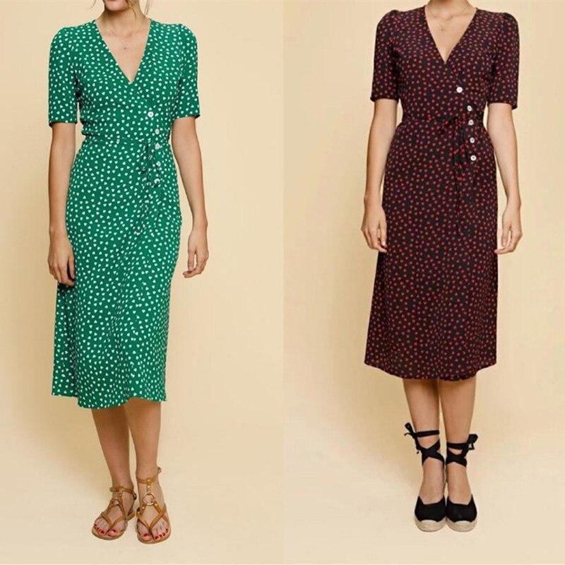 새로운 여름 여성 미디 드레스 프랑스어 튜닝 원피스 랩 클래식 중간 숙녀 긴 드레스 짧은 소매 붉은 마음 인쇄-에서드레스부터 여성 의류 의  그룹 1