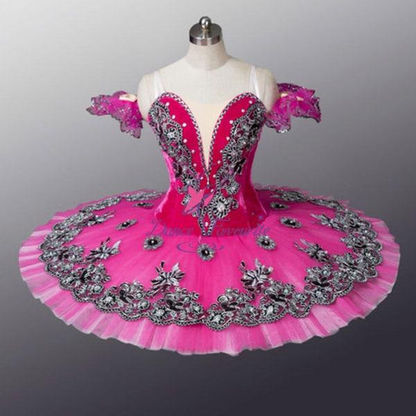 Pink Velvet Ballet Tutu Dance Wear Skirt Girls Ballerina Dress For
