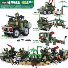 GUDI City Military War Scenes Firewire Tank Missile Model Building Blocks Enlighten Figure Toys For Children Compatible Legoe