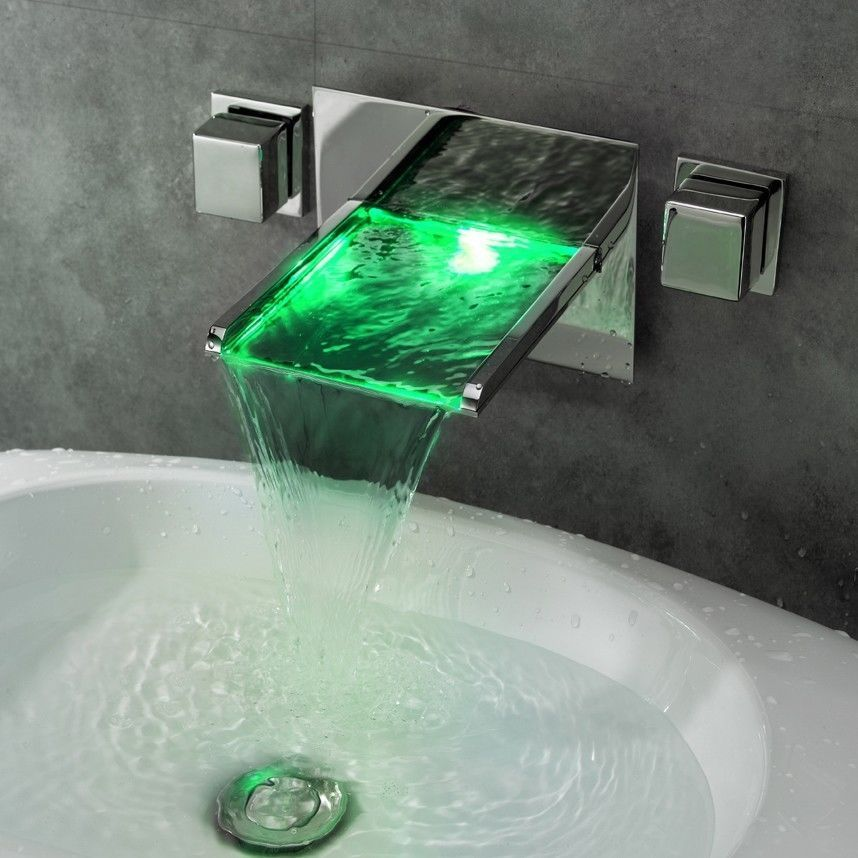 Free shipping Modern Bathroom LED Wall Mounted widespread Waterfall ...