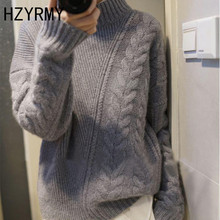 HZYRMY Winter New Women's High-Neck Cashmere sweater Fashion Loose High-Quality Wool Pullover Thick Solid Short Sweater Female