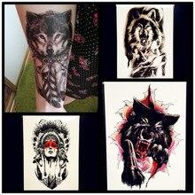 Water Transfer Fake Wolf Tattoo Women Henna Waterproof Temporary Tattoo Sticker Beast 21x15CM Men Flash Tatoo Tribal Indian