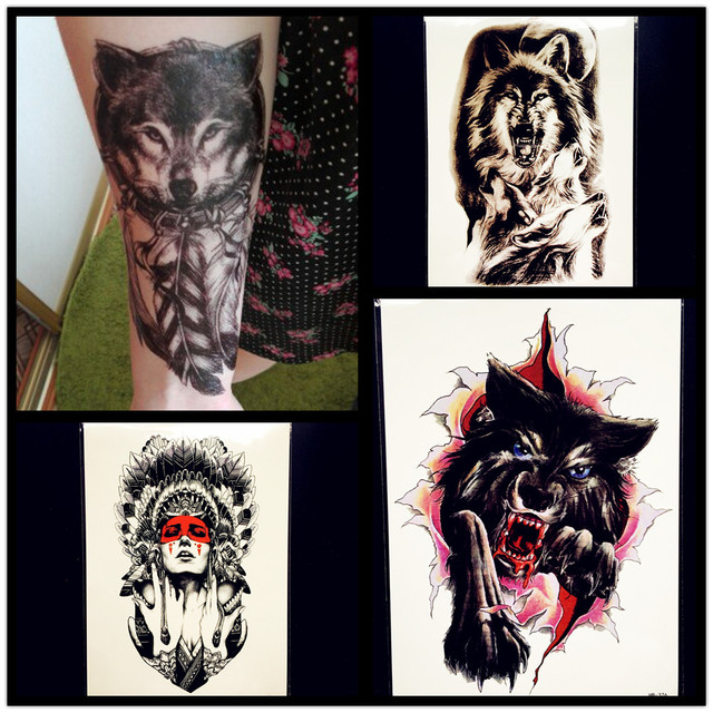 Water Transfer Fake Wolf Tattoo Women Henna Waterproof Temporary Tattoo Sticker Beast 21x15CM Men Flash Tatoo Tribal Indian
